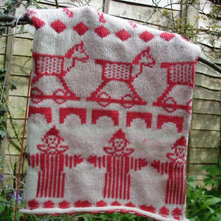 new baby blanket design - knitted horse swatch
